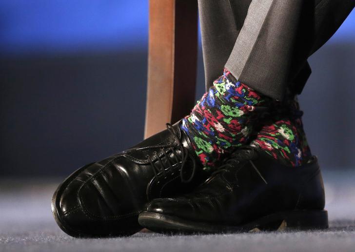 Похожие носки канадский премьер выбрал для выступления в Торговой палате США в Вашингтоне.