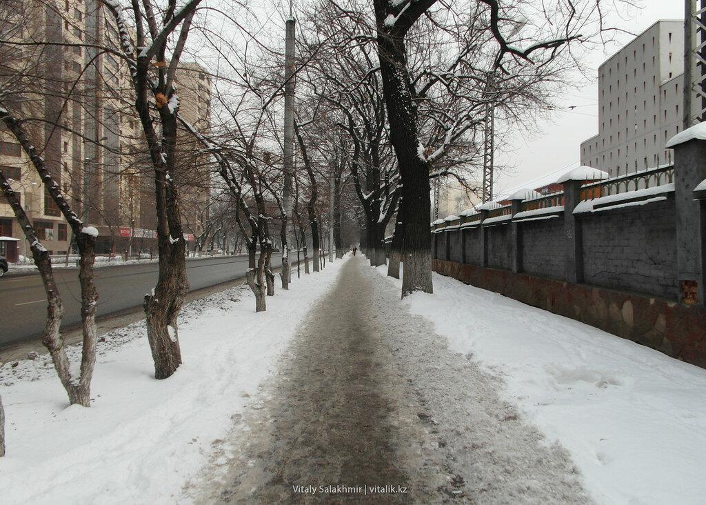 Тротуар в снегу на Гоголя.