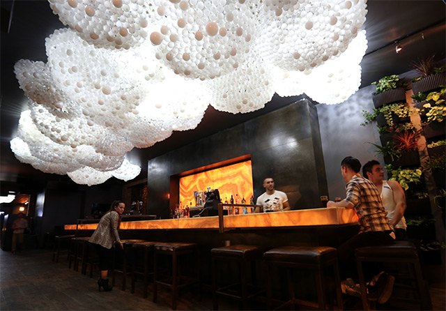 Cloud Ceiling: An Interactive Cloud Made with 15,000 Light Bulbs at Progress Bar in Chicago