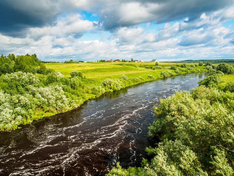 Дорога пресекает многочисленные притоки Северной Двины.