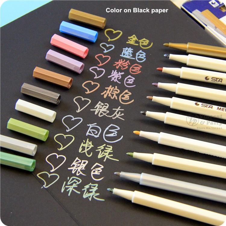 Details About 10 Pcs Lot Doodle Drawing Marker Pens Metallic Pen For Black Paper Art Supplies