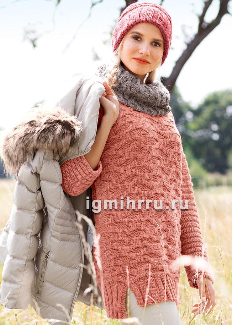 Вязаный ансамбль для прохладной погоды: пуловер, шарф-петля и шапка. Вязание спицами