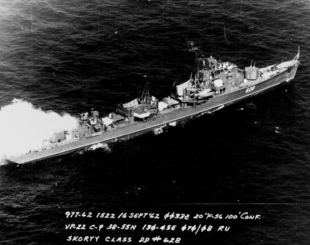 Soviet Pacific Fleet SKORYY Class Destroyer, photographed at 0033 hours Zulu time 16 September 1962 in the Southern Sea of Japan in position 38-55 North, 130-45 East, by U.S. Navy Aircraft of Patrol Squadron (VP) 22.