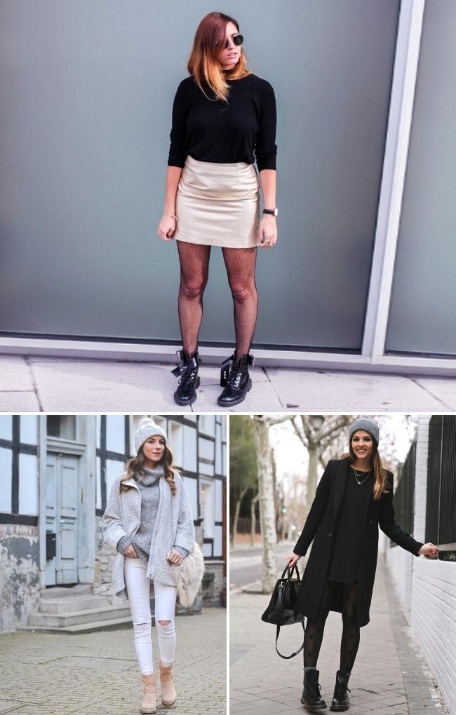 © trendytaste  © veja-du  © donkeycool  Сочетание платья или юбки сгрубыми ботинк