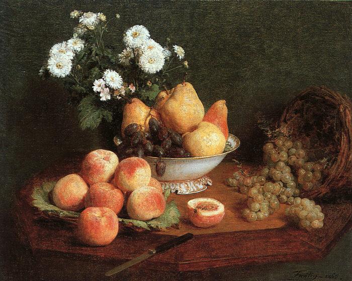 Анри Фантен-Латур. Натюриорт с персиками и виноградом.