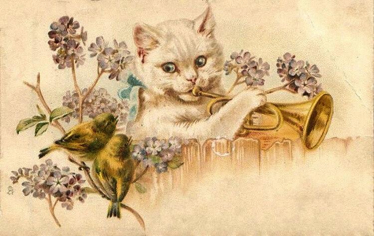 Старинные открытки с кошкам, лет сестренке