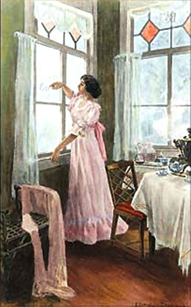 Татьяна пред окном стояла ... Иллюстрации к роману Евгений Онегин Лидии Тимошенко (1903–1976, - 01(Фрагмент).jpg