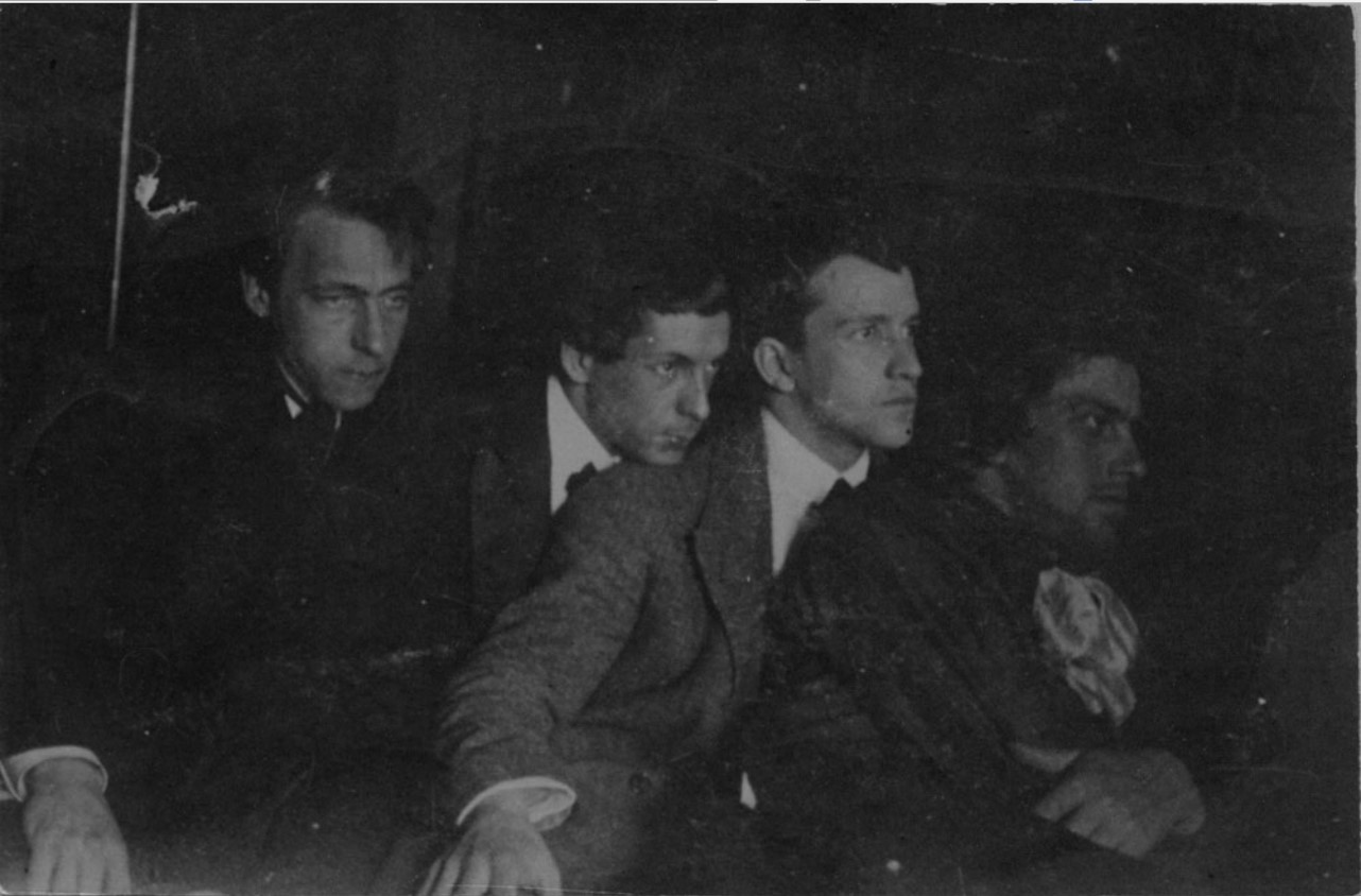 1912. В.В. Маяковский с В.В. Хлебниковым, С.Д. Долинским и Л.Л. Кузьминым. Москва