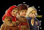winter children vintage graphics