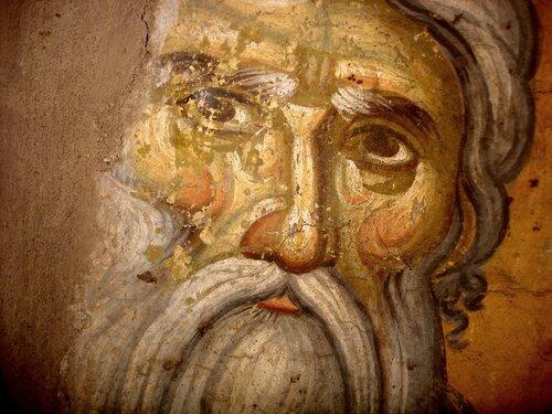 Святой Преподобный Иоанникий Великий. Фреска конца XIII века в монастыре Протат на Афоне. Иконописец Мануил Панселин. Лик.