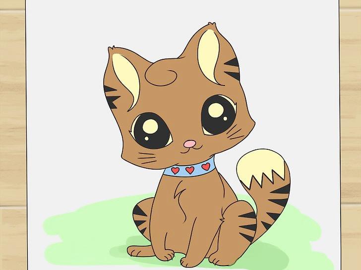 Как нарисовать милого мультяшного котика по-шагово фото