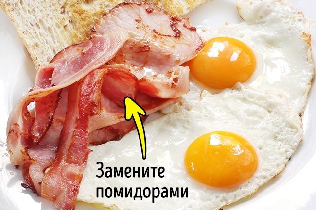 © depositphotos  Классический илюбимый многими вариант яичницы сбеконом содержит много живот