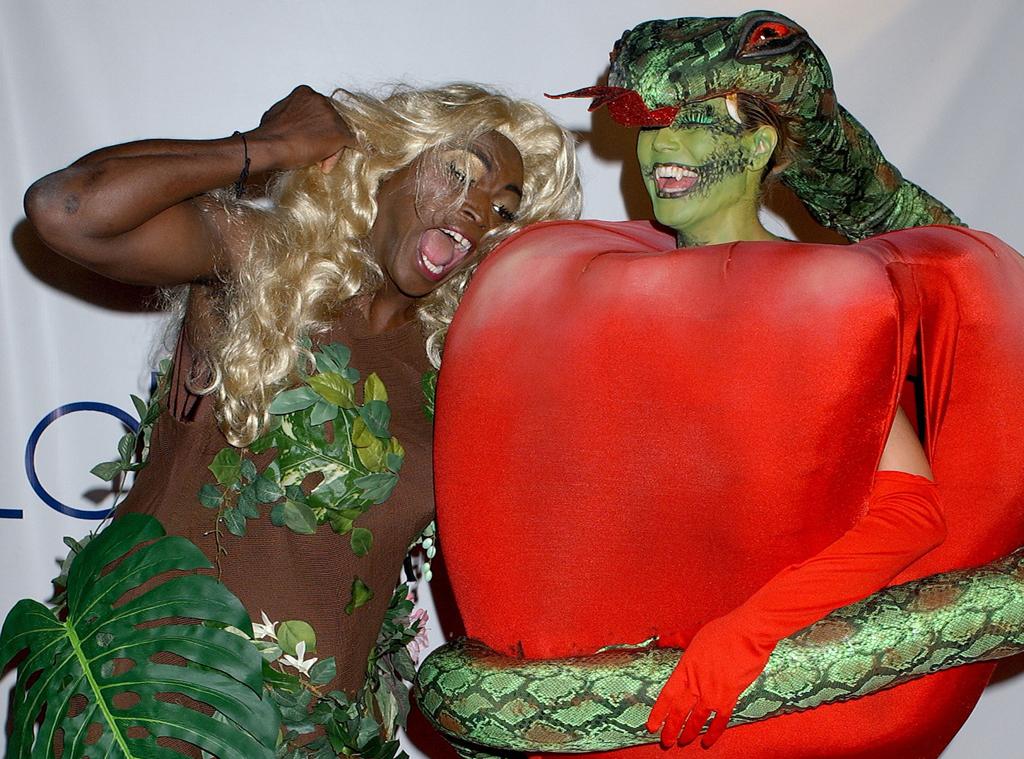 Не без юмора подошел к выбору костюма и чернокожий певец Сил, тогдашний муж Хайди. Он нарядился в пл