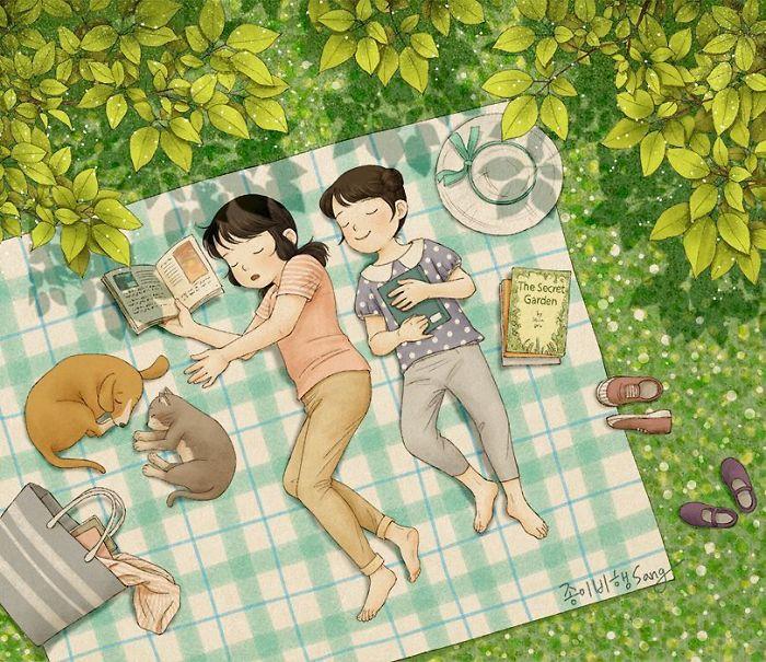 Самые милые комиксы про связь между сестрами (45 фото)