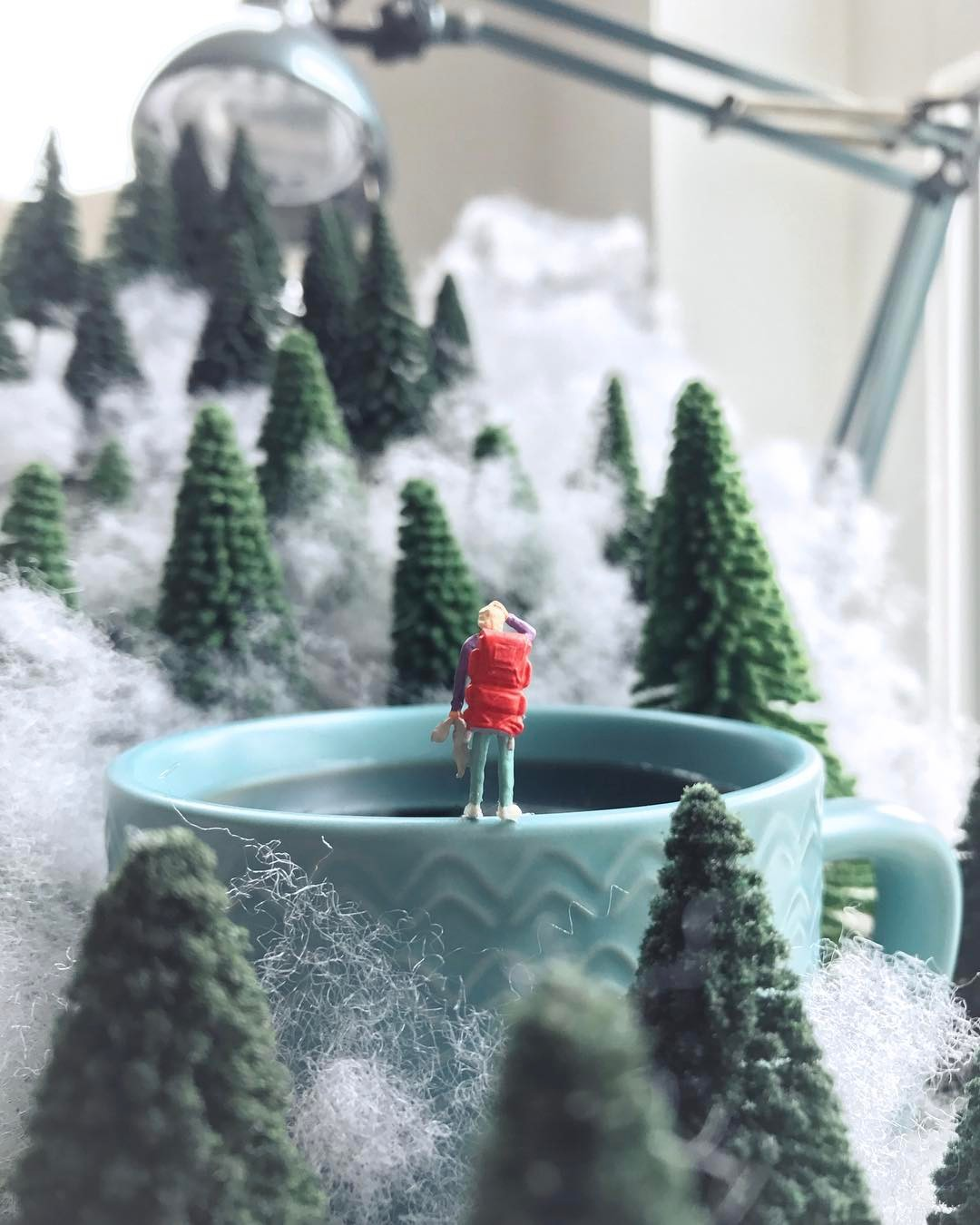 Miniature Scenes Set Amongst Office Supplies by Derrick Lin
