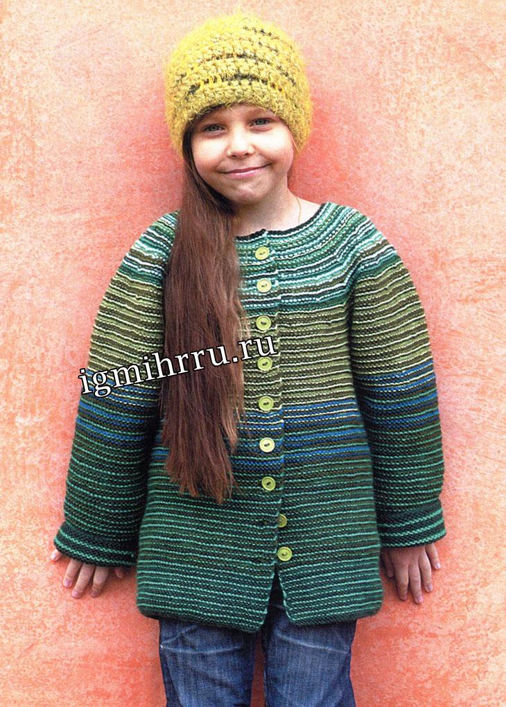 Для девочки 6-9 лет. Пестрый шерстяной жакет и шапочка. Вязание спицами и крючком