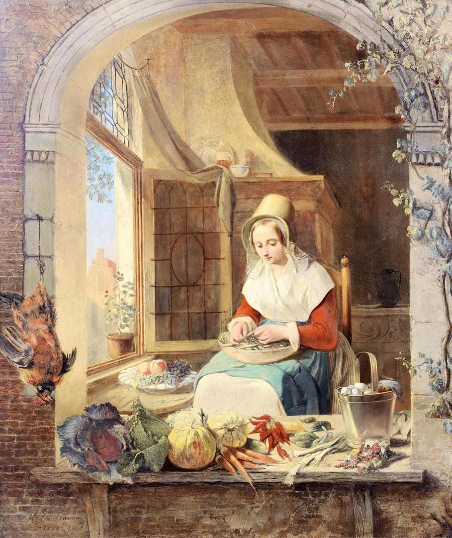 A young lady shelling peas in a niche, 1846