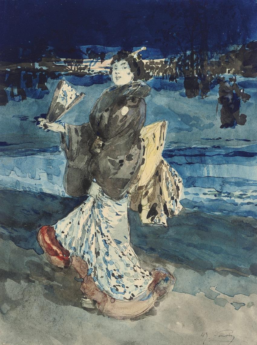 Une femme en kimono tenant un éventail.jpg