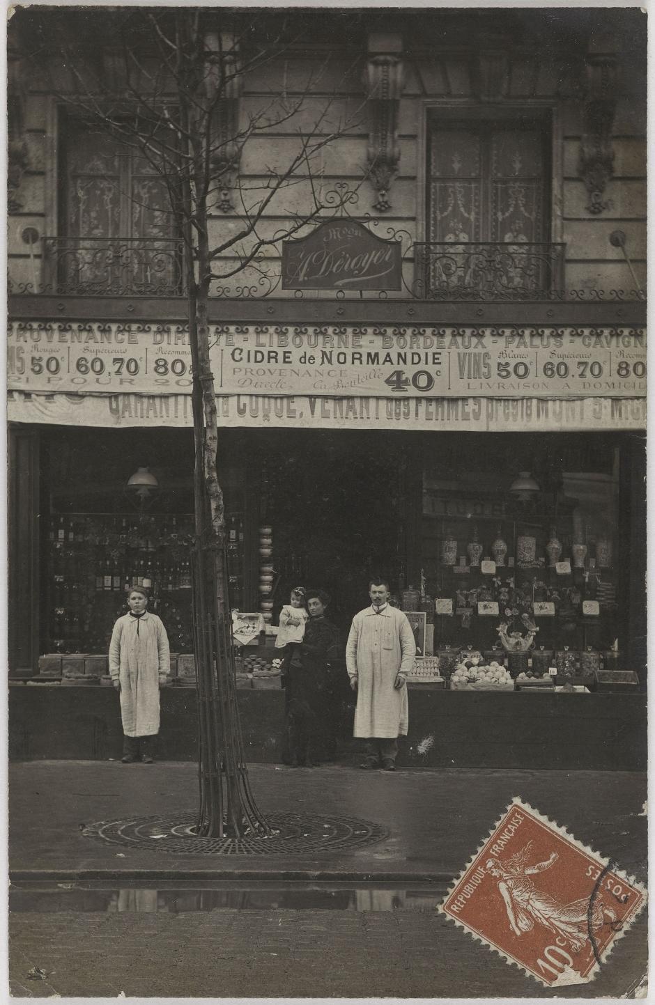 1907. Продукты и алкоголь. Дом А.Деро, 25, rue Faidherbe (12-й округ). Сейчас на этом месте магазин одежды
