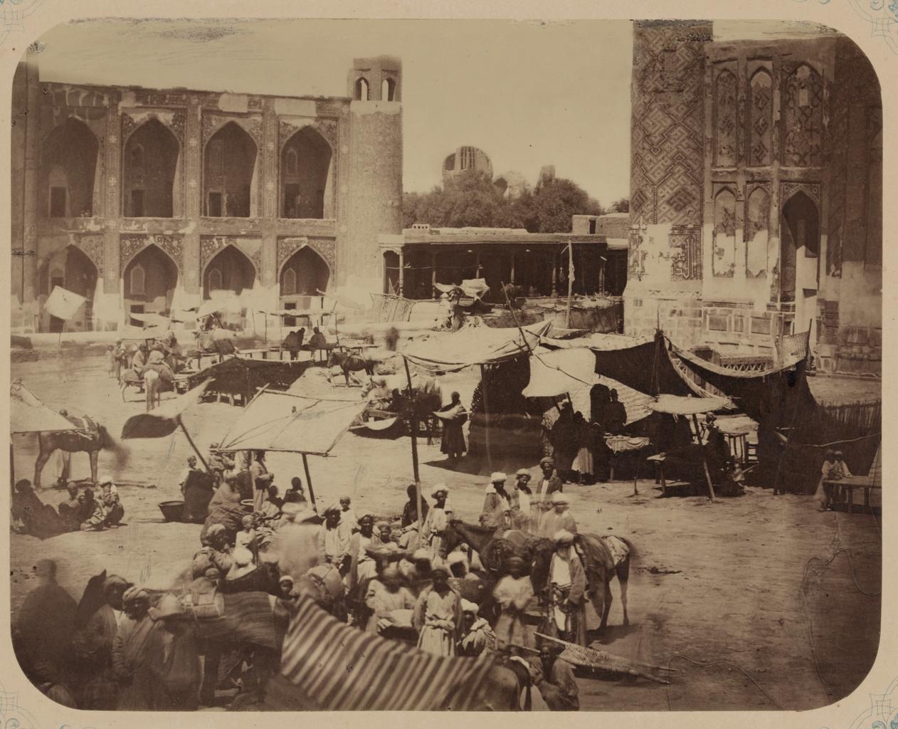 Самаркандский базар и типы торговцев. Базарная площадь между трех медресе (Реджистан)