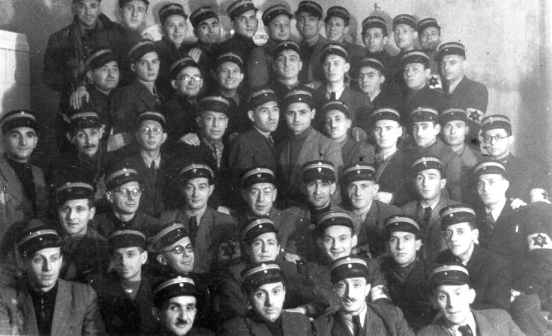Members of the Jewish ghetto police force in the Lodz ghetto.jpg