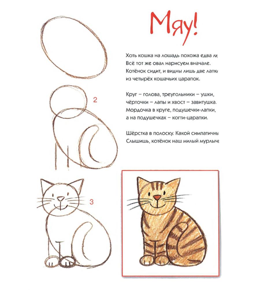 Рисуем поэтапно карандашом сидячего кота