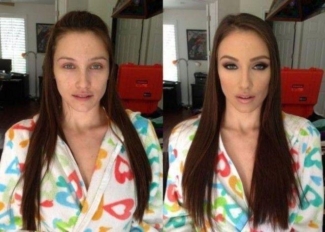 Чудеса макияжа! Порноактрисы в жизни и на работе