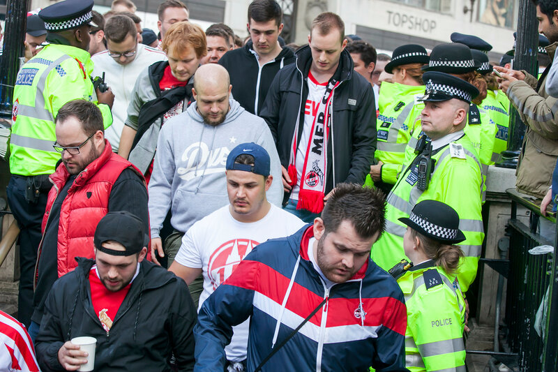 During the day a large crowd of Cologne fans marched through Soho and then into Oxford Street which they brought to a halt.
