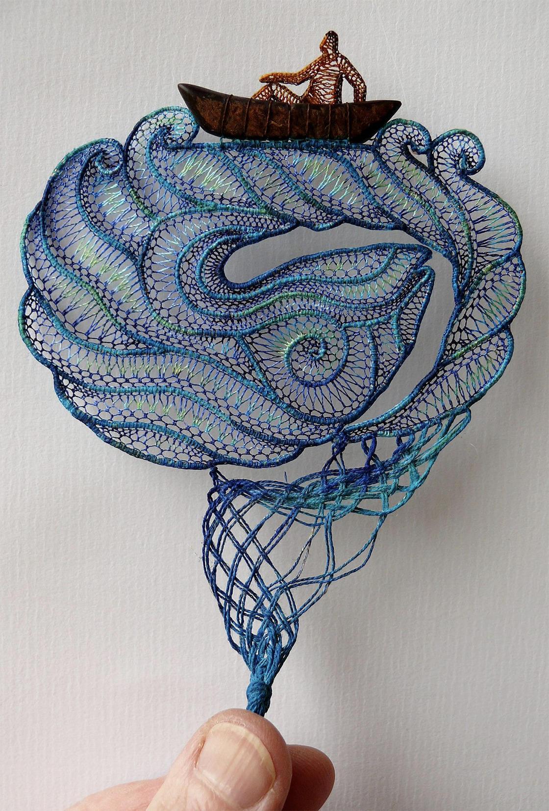 Delicate lace faces by Agnes Herczeg