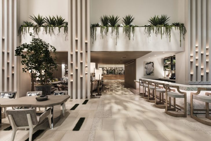Lobby  Similar to neighbouring California hillside residences, the hotel will have strong, seam