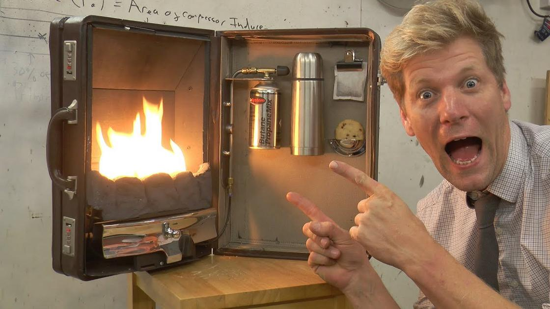 A portable and functional fireplace that fits in a suitcase! (10 pics)