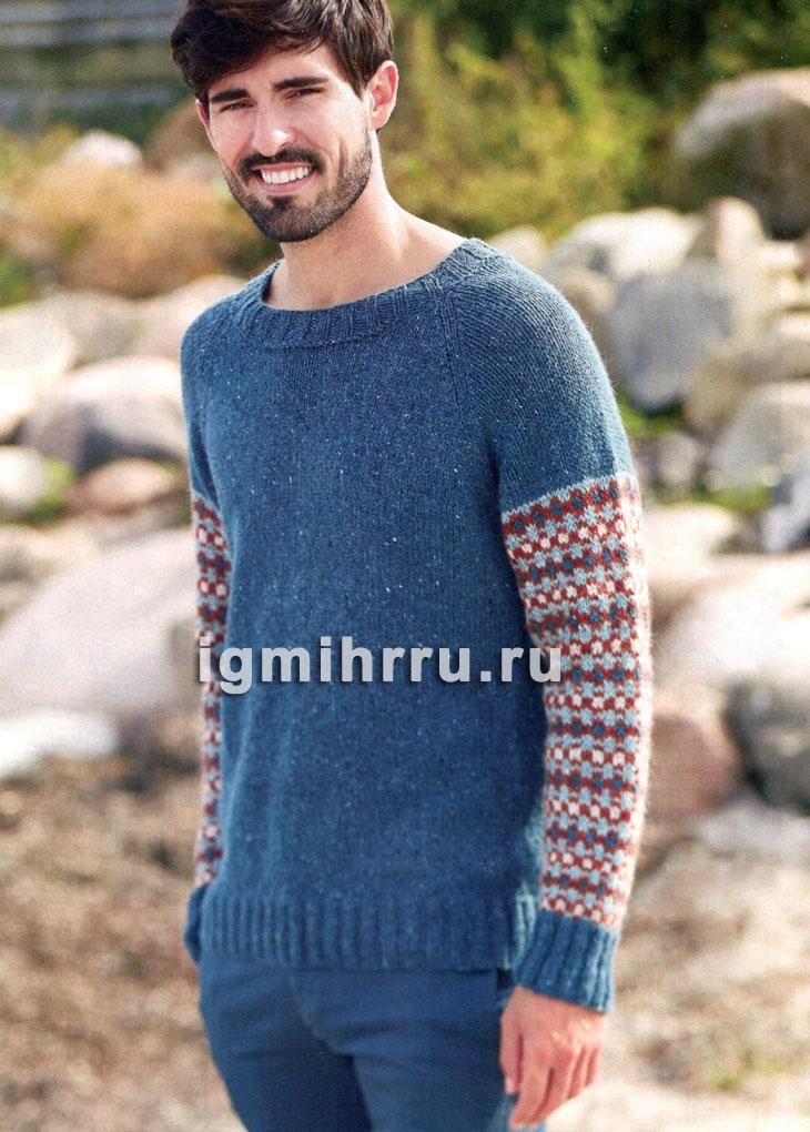 Теплый мужской пуловер с жаккардовыми рукавами. Вязание спицами
