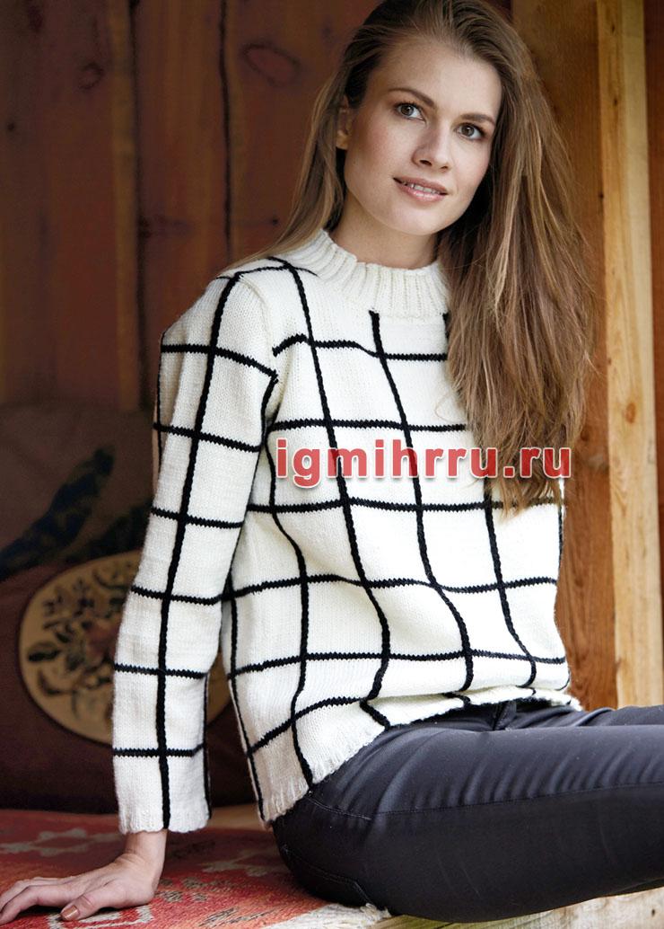 Классический шерстяной пуловер в черно-белую клетку. Вязание спицами