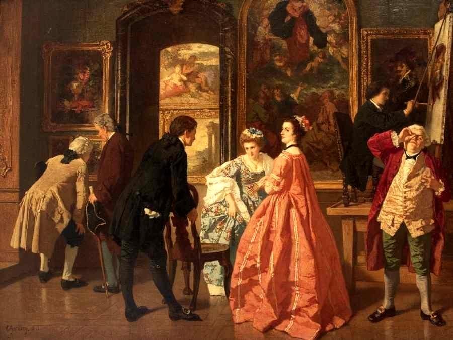 In der Gemäldegalerie, 1861.