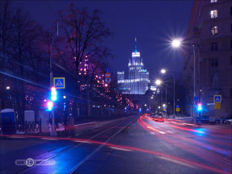 Ночной город Москва, штатив, выдержка 60 секунд. Night city Moscow, tripod, exposure 60 sec.