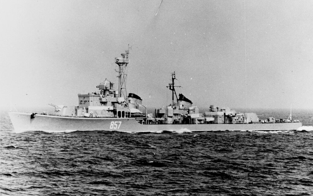 Soviet SKORYY Class Destroyer, photographed during late 1961 in the Baltic Sea.