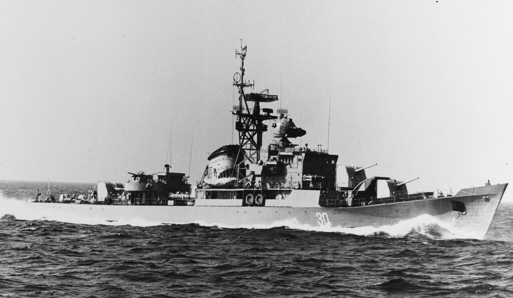 Riga-class ocean escort in the Baltic Sea. Soviet ship at sea, photographed circa 1965. Ship is wearing pennant number 30.