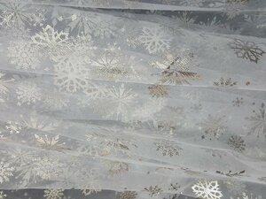 Фатин со снежинками БЕЛЫЙ 100 п/э вес 18 гр ширина 150 см Цена 200,00