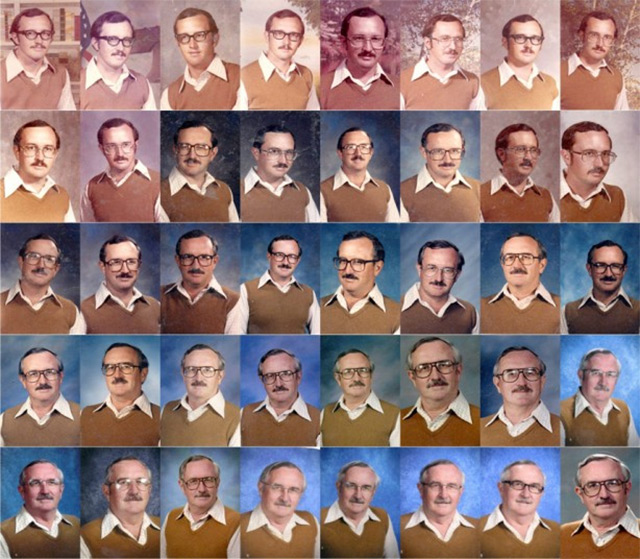 Retired P.E. Teacher Wears Same Outfit for 40 Years of Yearbook Portraits (2 pics)