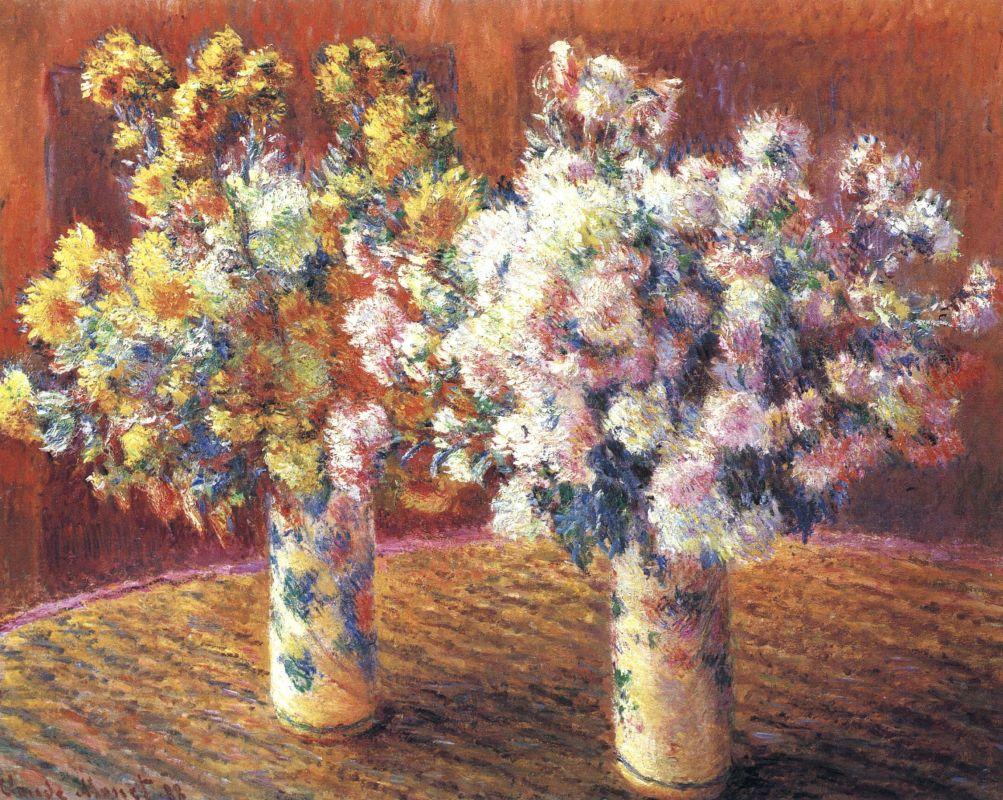 Клод Моне. Две вазы с хризантемами.