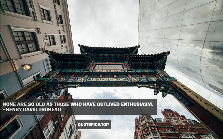 None are so old as those who have outlived enthusiasm. ~Henry David Thoreau