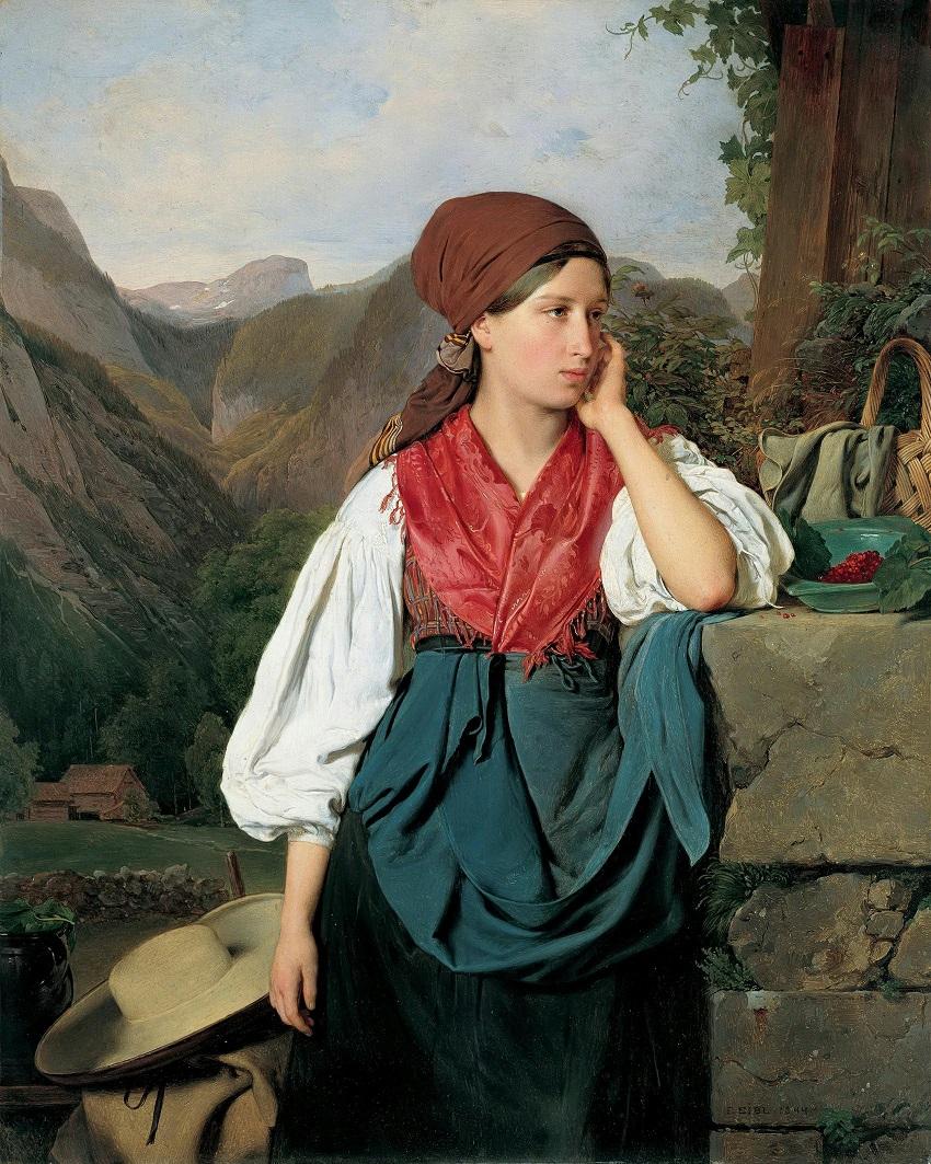 Собирательница ягод на фоне горного пейзажа. 1844.jpg