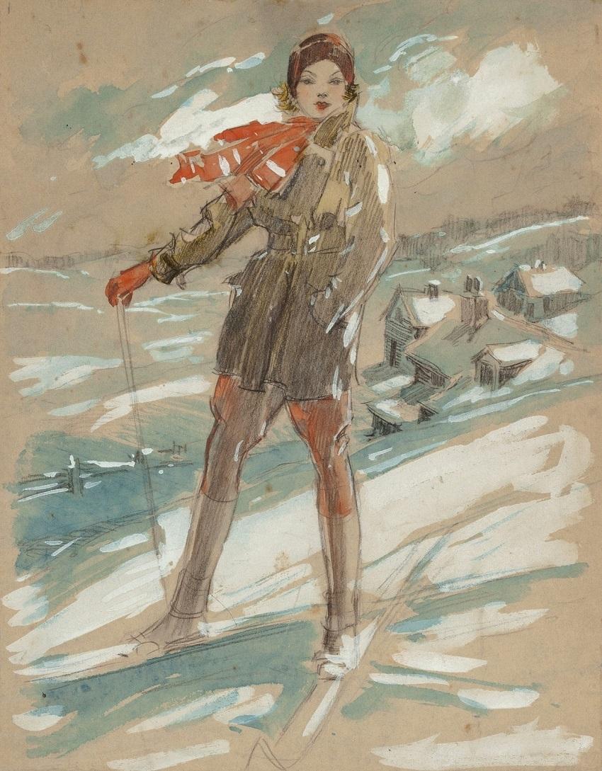 1931 Сусанна Хамфрис на лыжах (Susanne Humphreys on Skis)