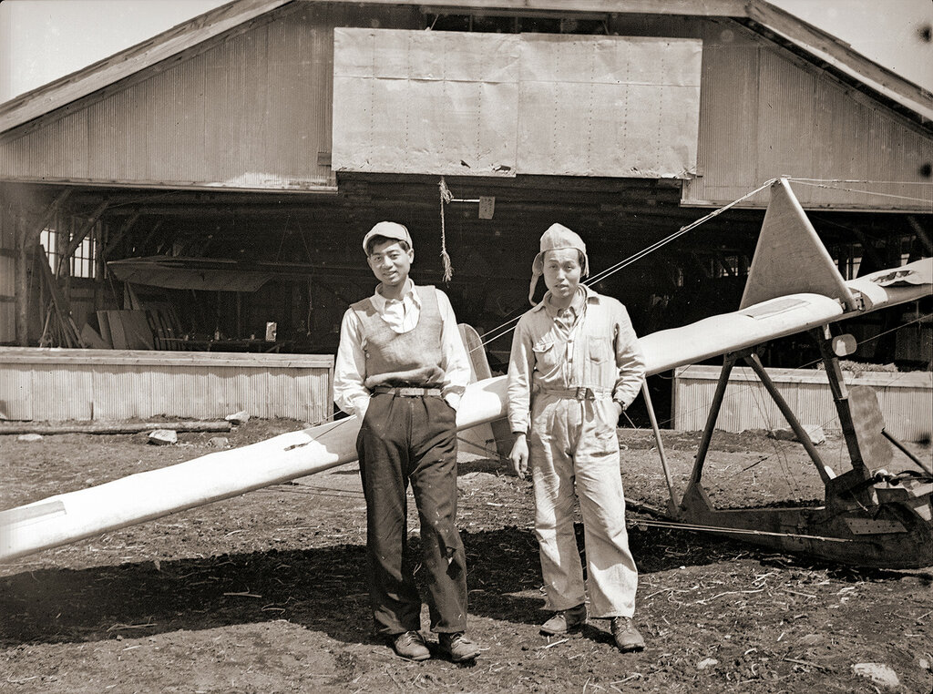 1930s Glider Hangar & Men, Kirigamine Japan
