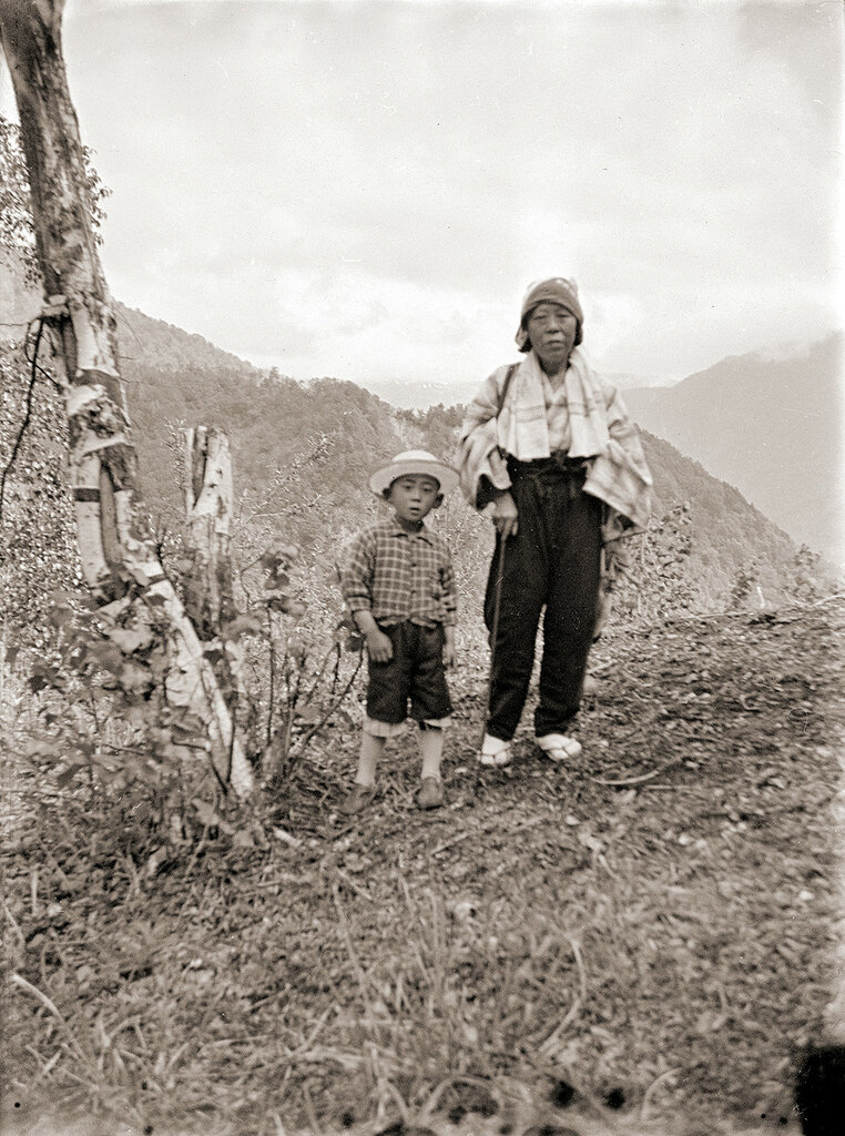Woman & Boy in Hat in Mountains of Japan, 1930s.