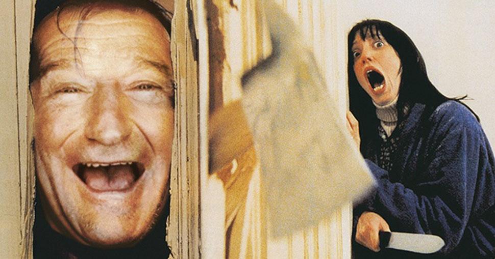 Робин Уильямс в роли Джека Торренса, «Сияние». Трудно в это поверить, но Робина Уильямса всерьез рас