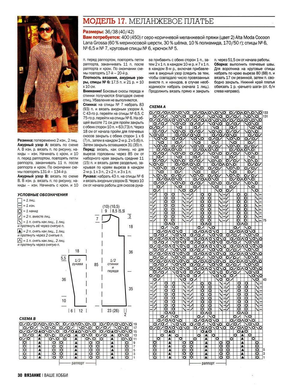 Вязание ажурных платьев спицами со схемами 546