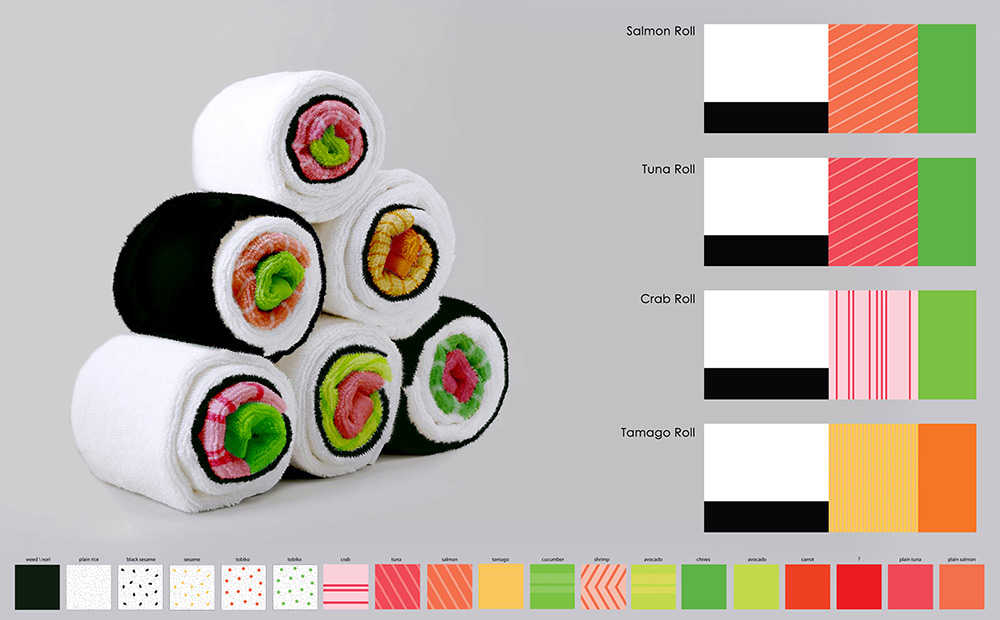 Sushi Bath Towel Concept by Jenny Pokryvailo
