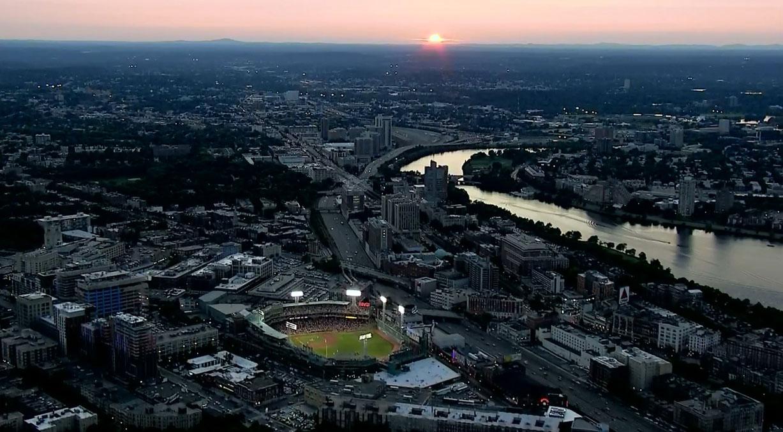красивые закаты на бейсбольных стадионах / baseball park sunset - boston, fenway park