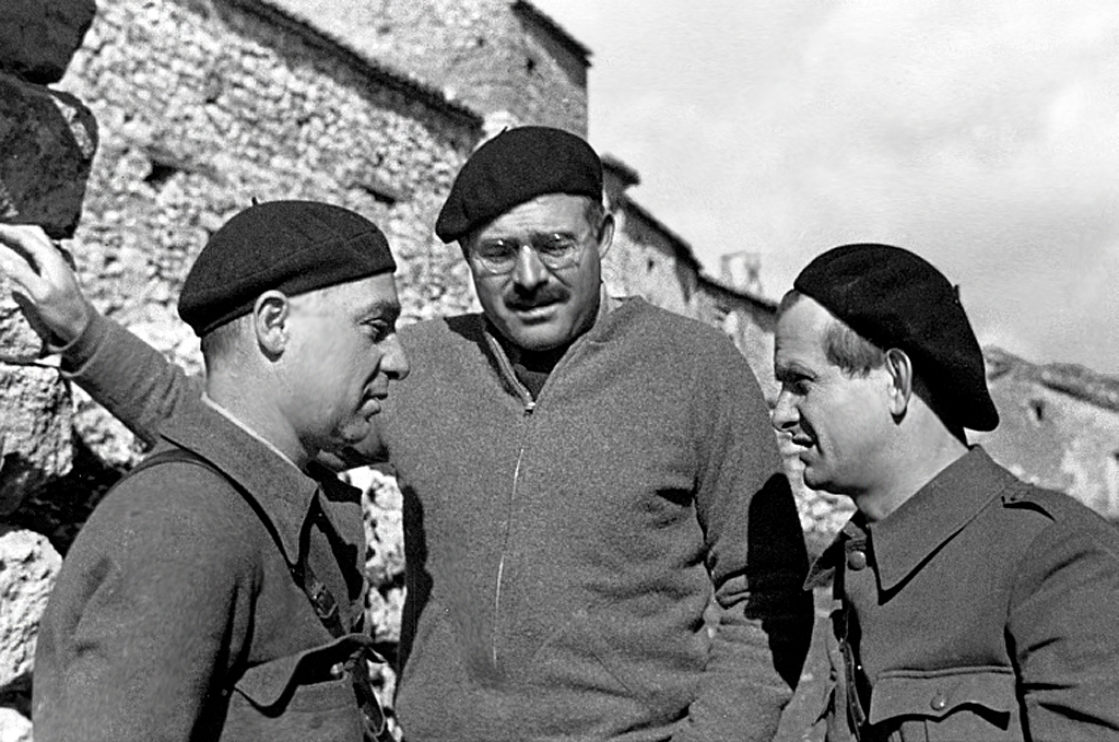 Ernest Hemingway with Ilya Ehrenburg and Gustav Regler during the Spanish Civil War, not dated, circa 1937.  Photograph in the Ernest Hemingway Photograph Collection, John F. Kennedy Presidential Library and Museum, Boston.